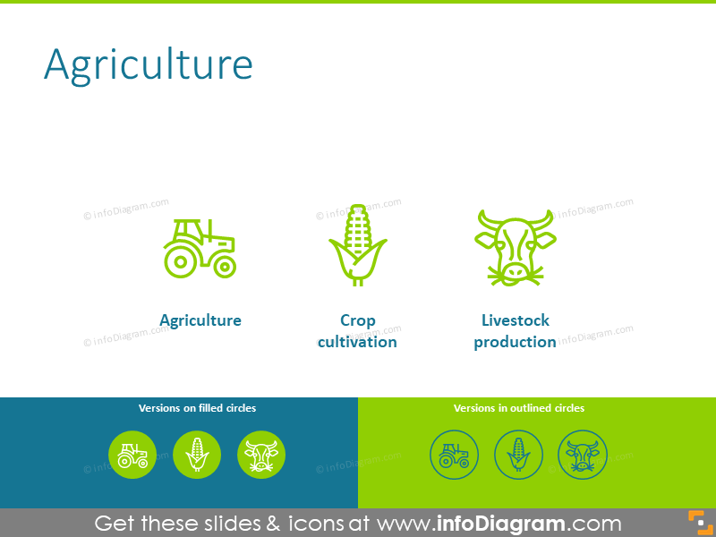 Agriculture icons: tractor, crop cultivation, livestock production