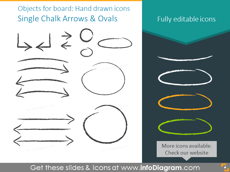 Objects for a board: Single Chalk Arrows and Ovals