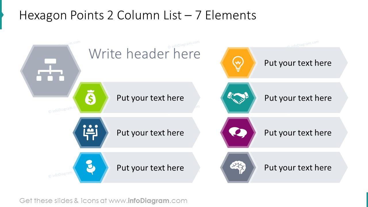 Hexagon points 2 column list for 7 elements