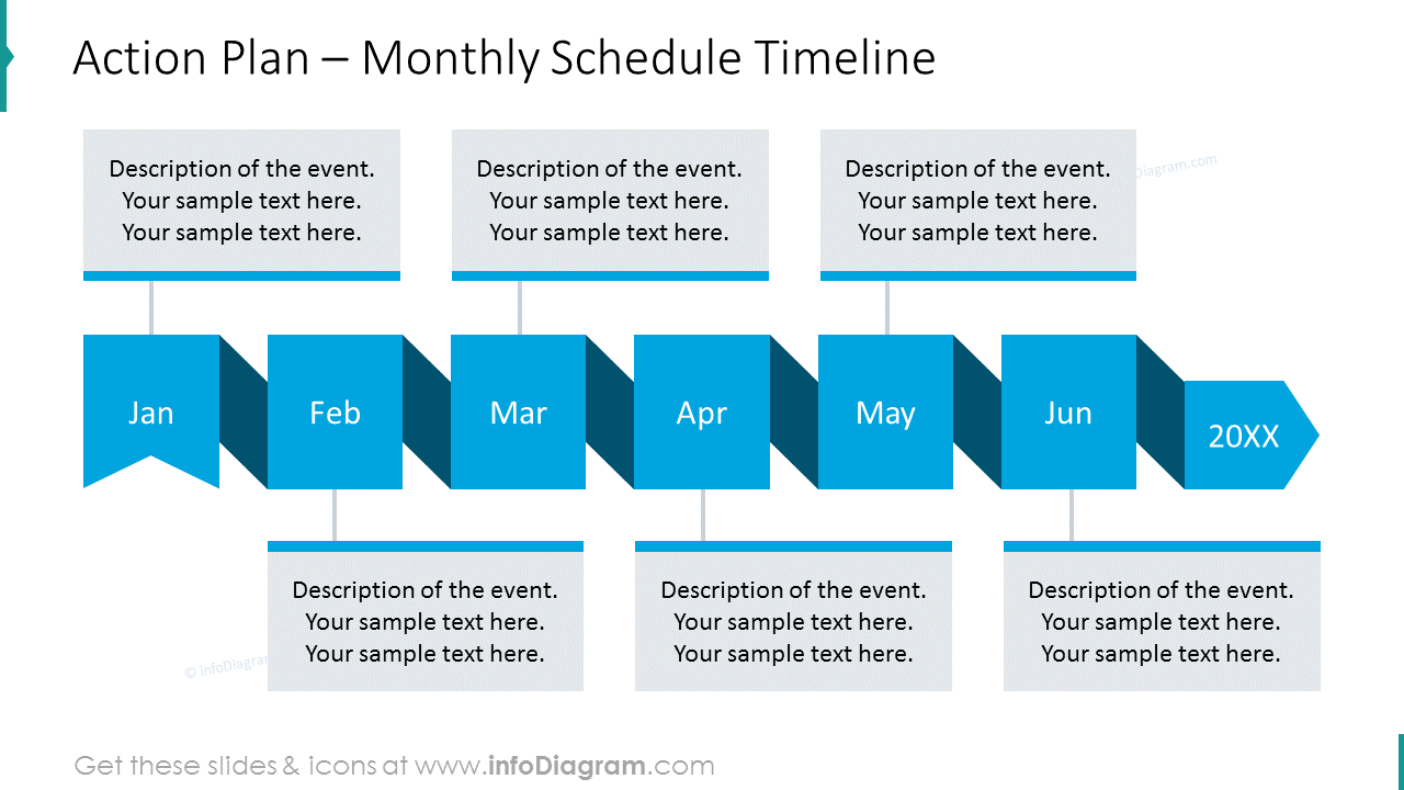 Monthly schedule timeline with text description