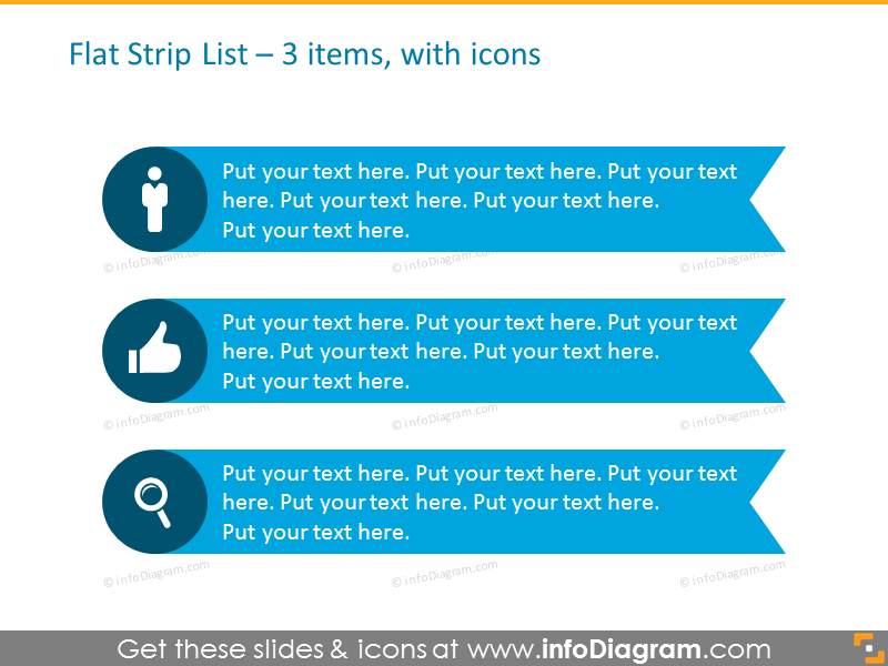 Flat Strip List with Circles for placing 3 items, with icons