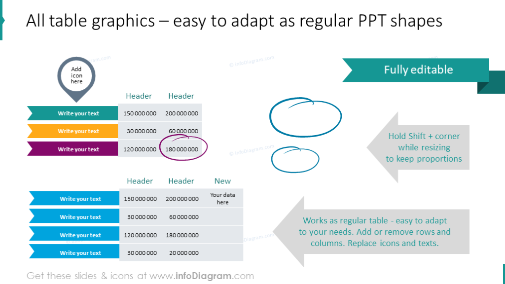 Editable ppt shapes
