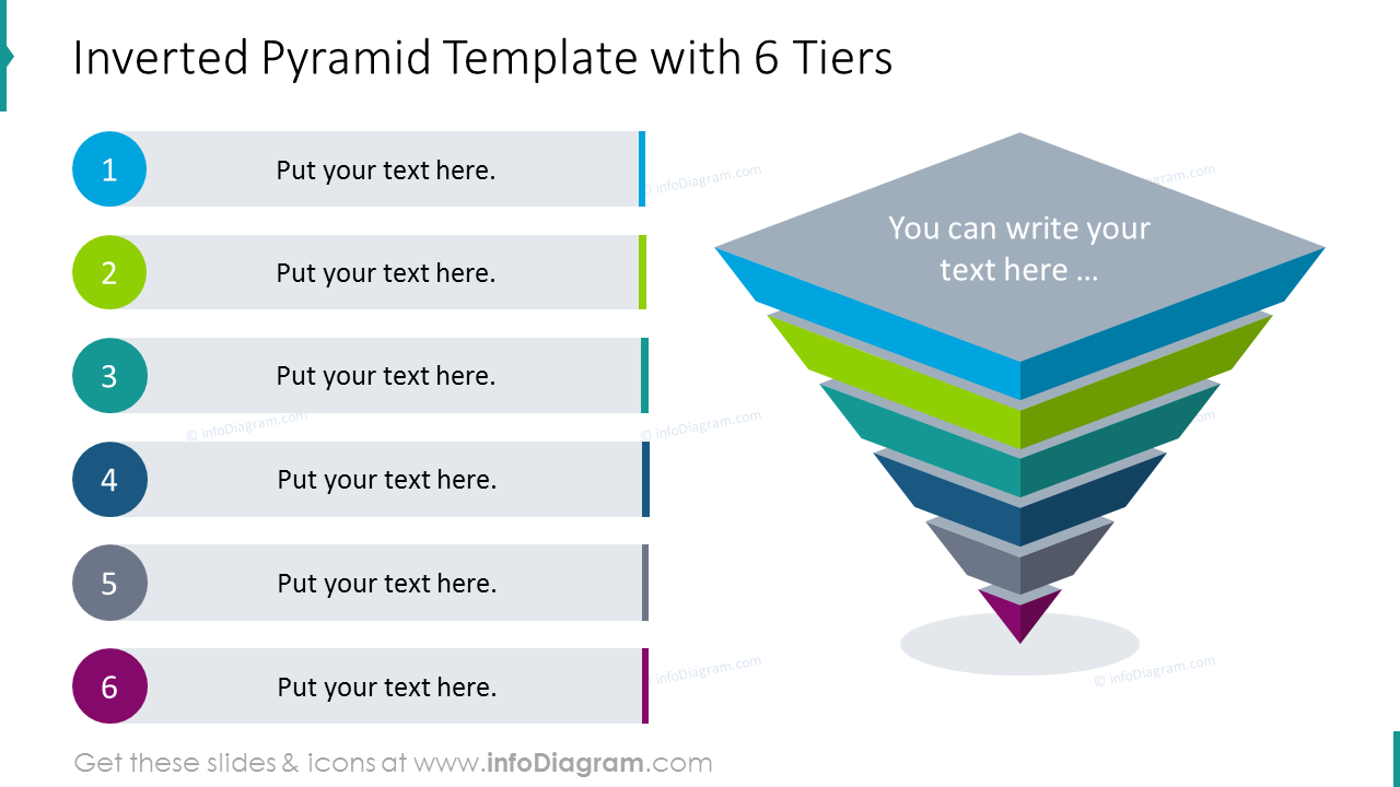 Inverted pyramid template with six tiers