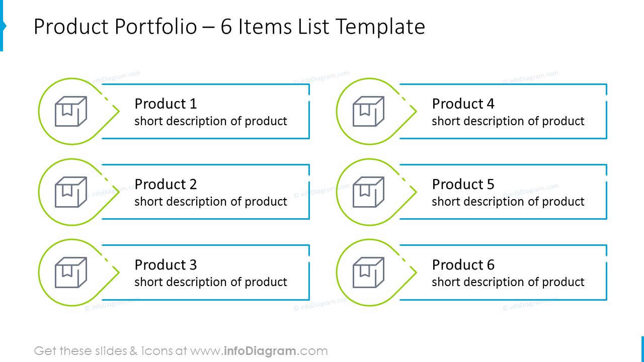 Six items product portfolio list with icons