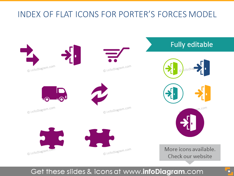 Flat Icons Porter Forces Marketing Diagram