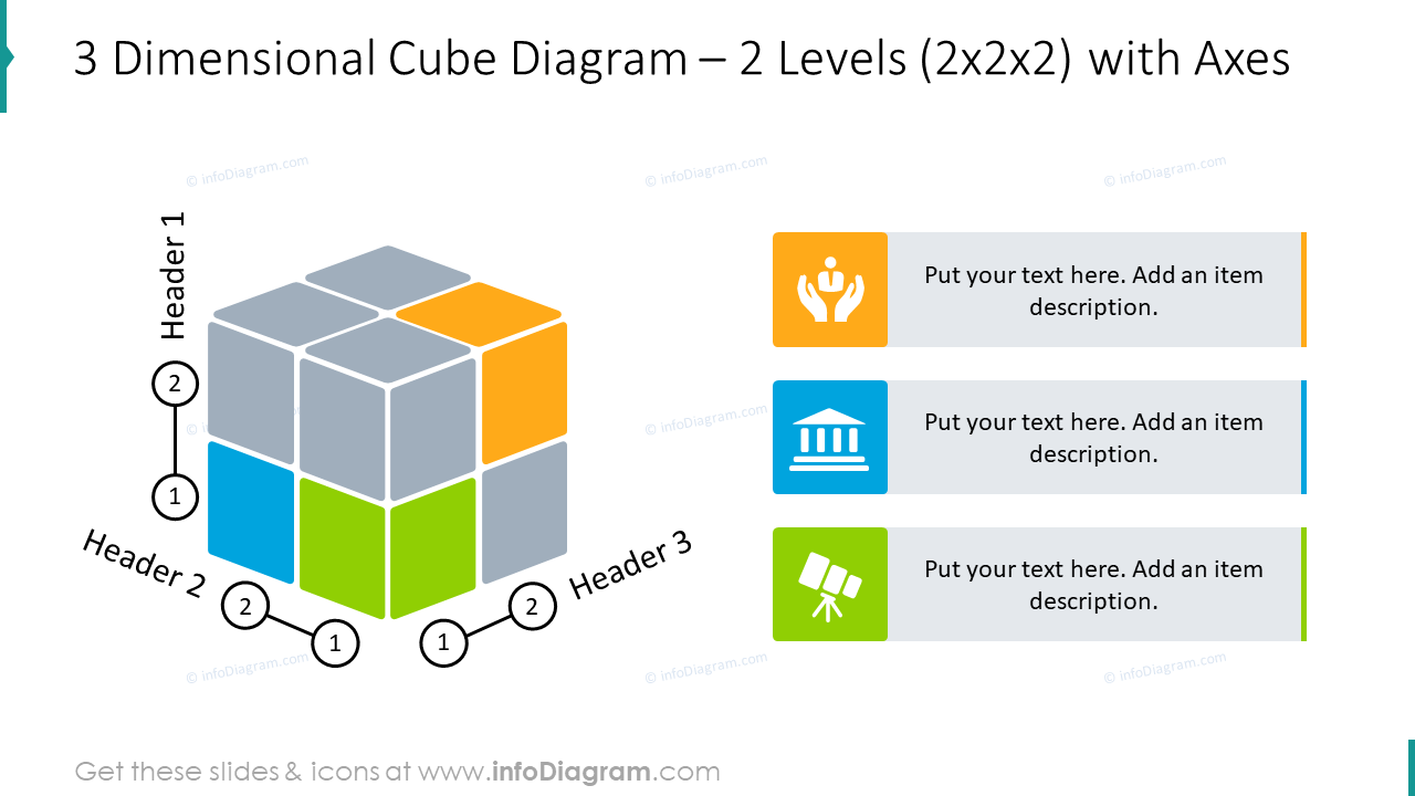 3 dimensional cube slide  for 2 levels with axes