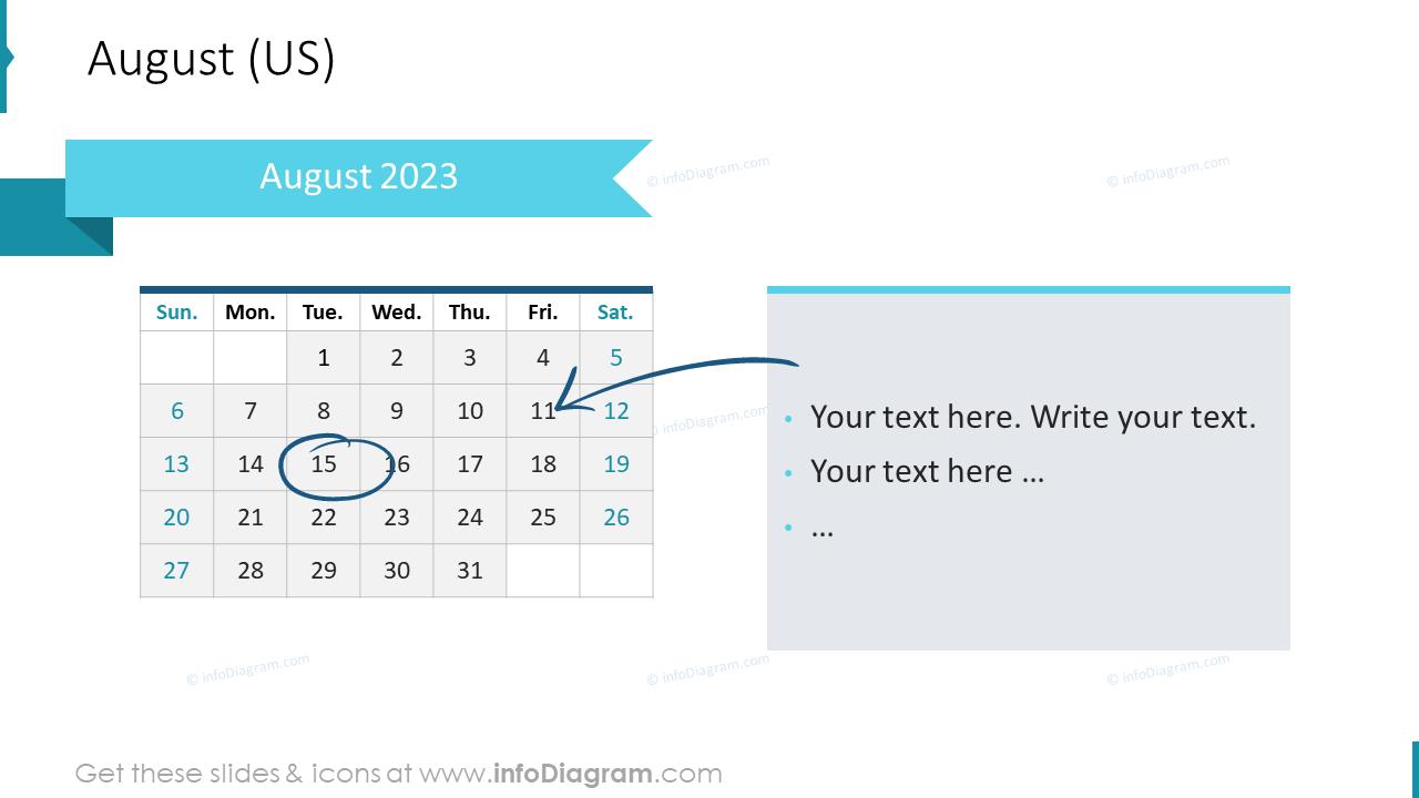 August 2022 US Calendars