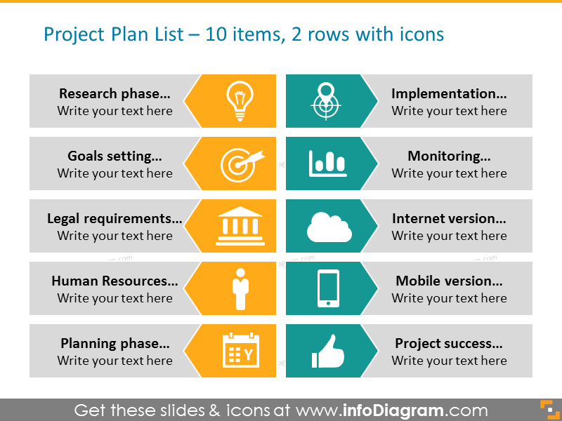 Arrow Diagram Example for Project plan with icons - project phases in 2 co…