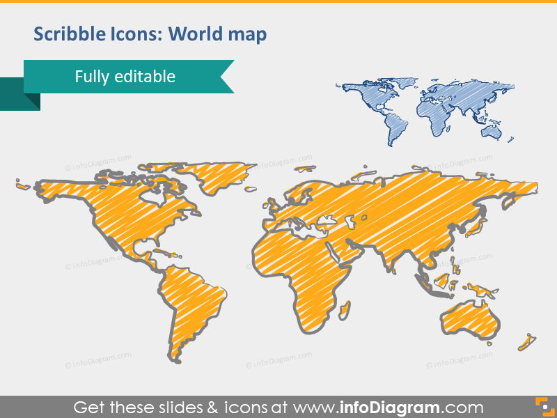 scribble world map outline powerpoint
