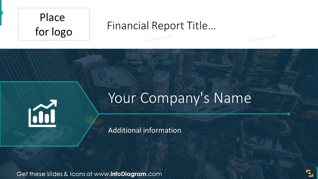 Financial report title slide on a dark background