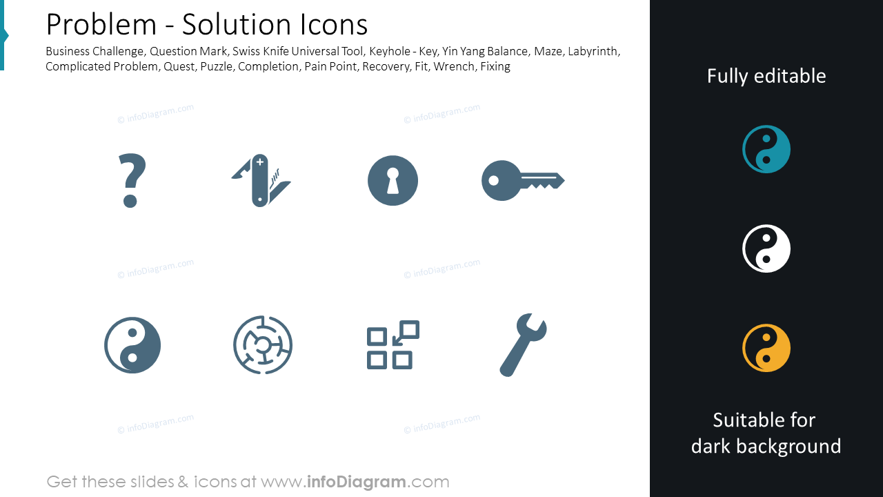 Challenge and Problem icons set: Solution, Swiss Knife, Labyrinth