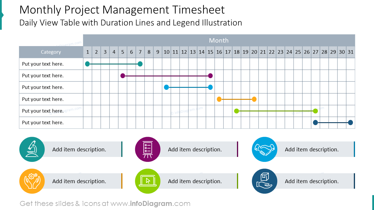 Monthly project management timesheet styled as a daily view table