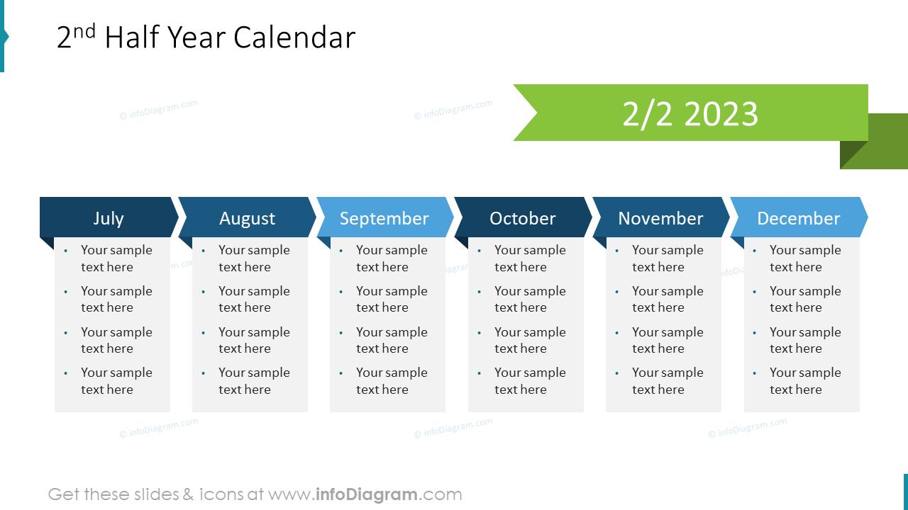 2nd Half Year Calendar US