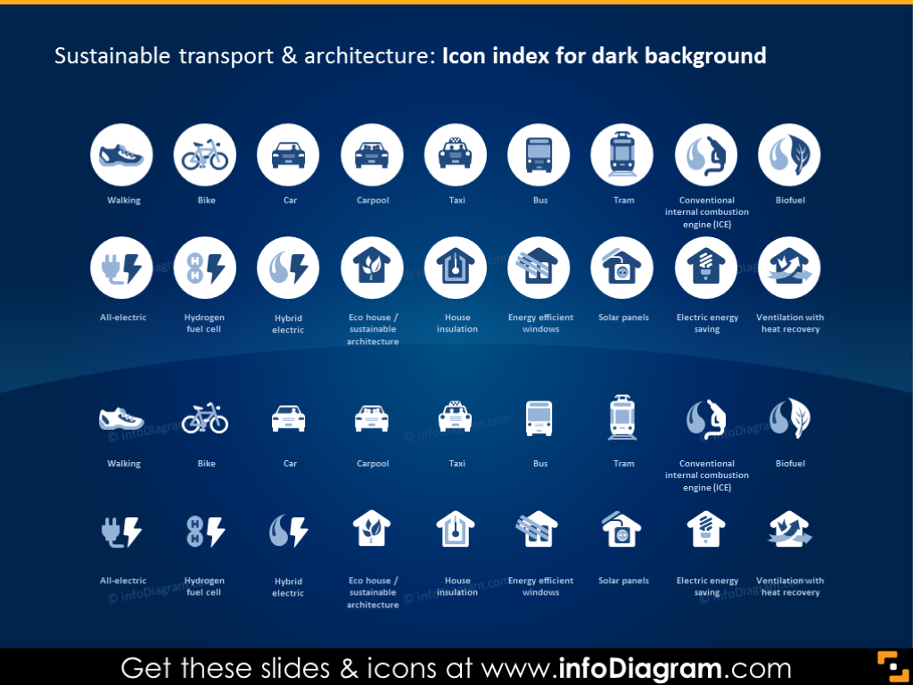 Icon Index on Dark Background: Sustainable Transport and Architecture