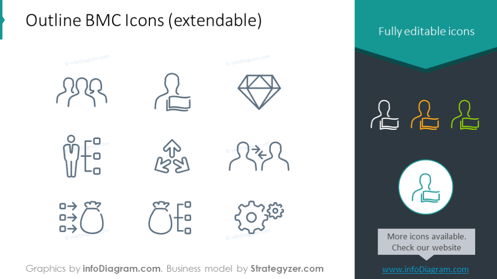 Icons setfor business model canvas illustration