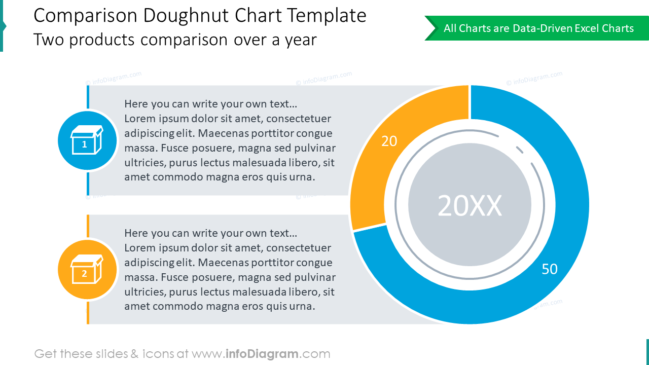 16 Pie Chart Templates and Circle Donut Graphs Graphics Data Driven Market  Share Comparisons for PowerPoint