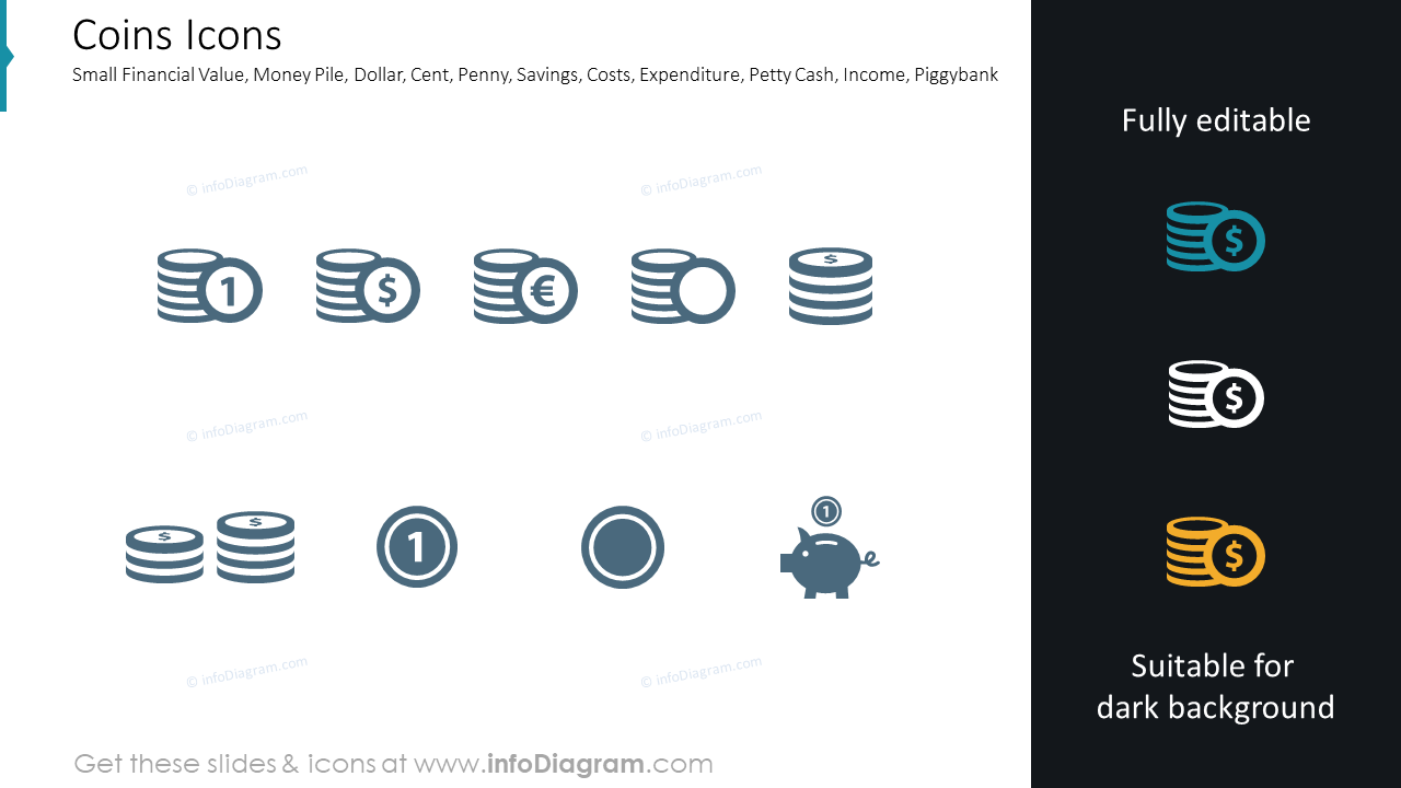 Money related symbols: money pile, coins