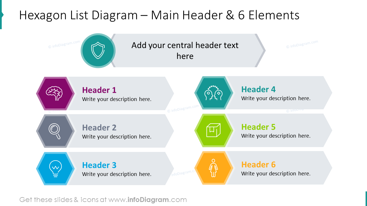 Hexagon list diagram with main header for 6 elements