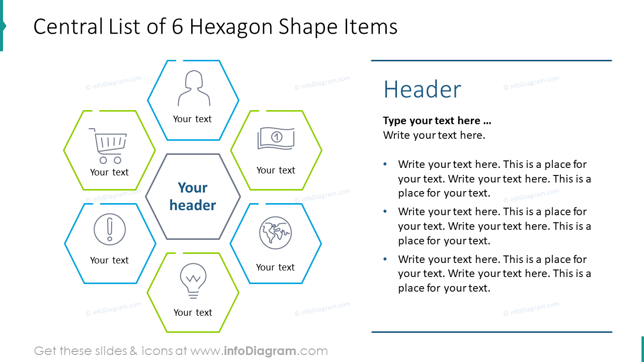 Central list of six hexagon shape items