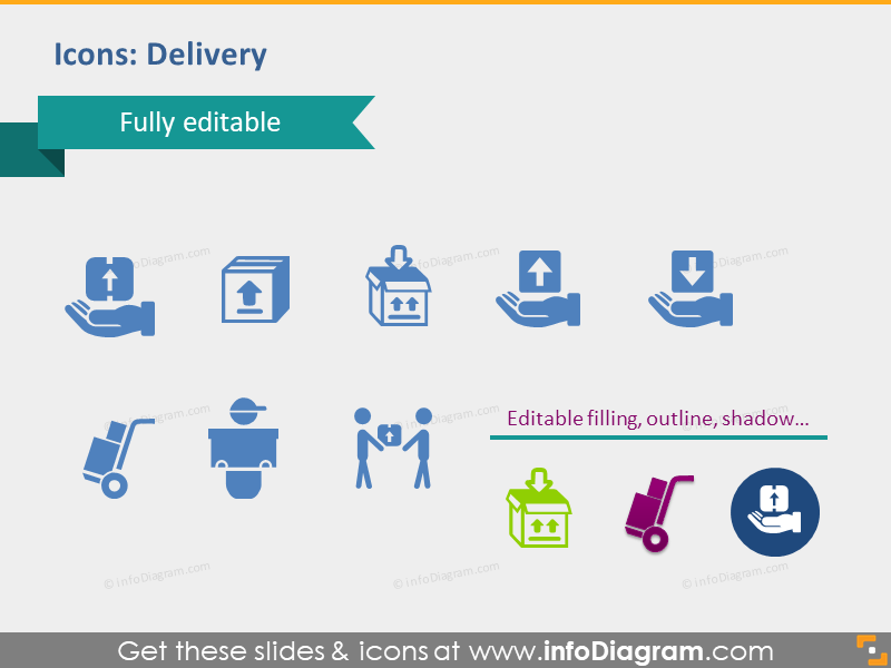 delivery icons transport exchange package supply demand