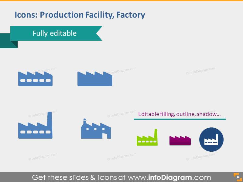 production facility factory manufactory icons for powerpoint