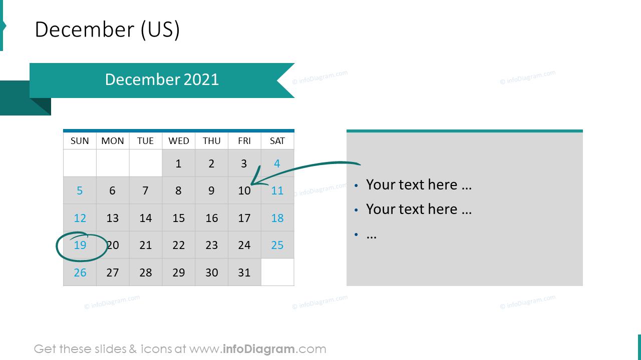 December 2020 US Calendars