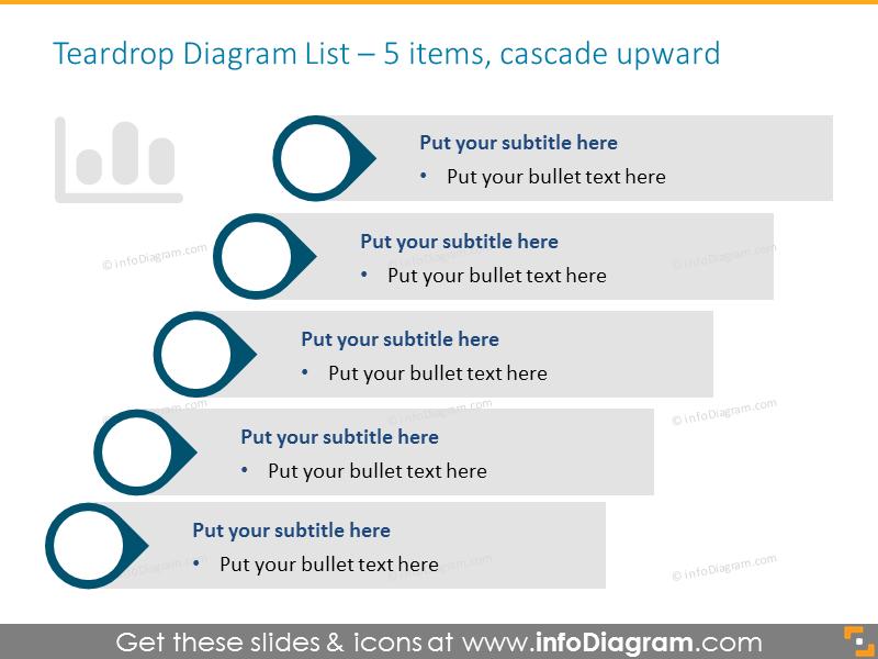 Smartart Graphics for 5 items in Cascade Upward
