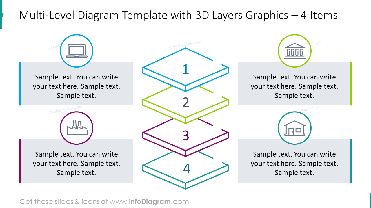 Four items 3D layers diagram with icons and text description