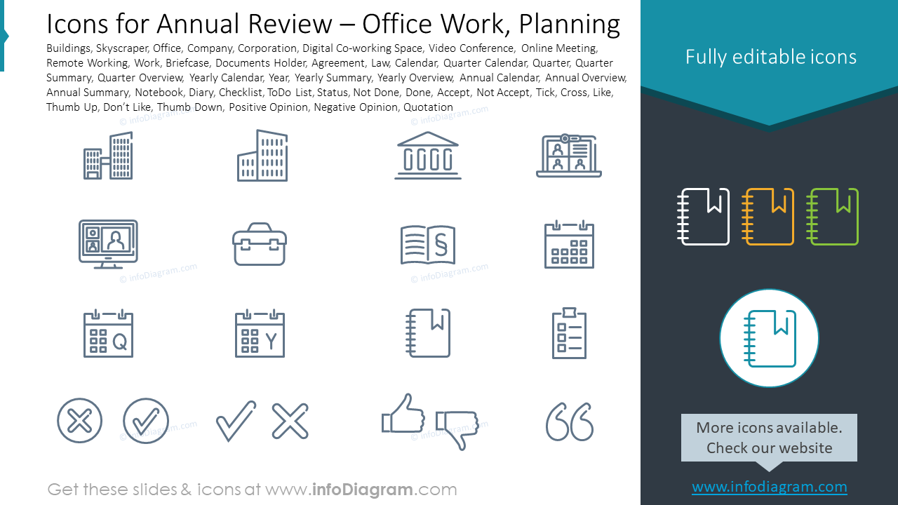 Icons for Annual Review – Office Work, Planning