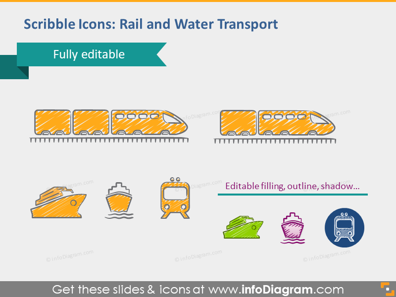 water shipping rail train transport editable powerpoint symbols