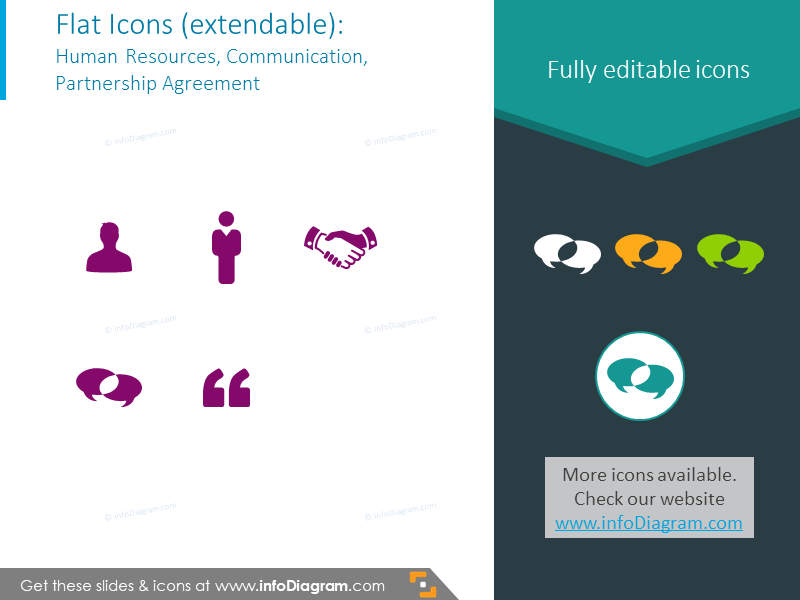 Example of icons set to illustrate HR, communication, partnership agreement
