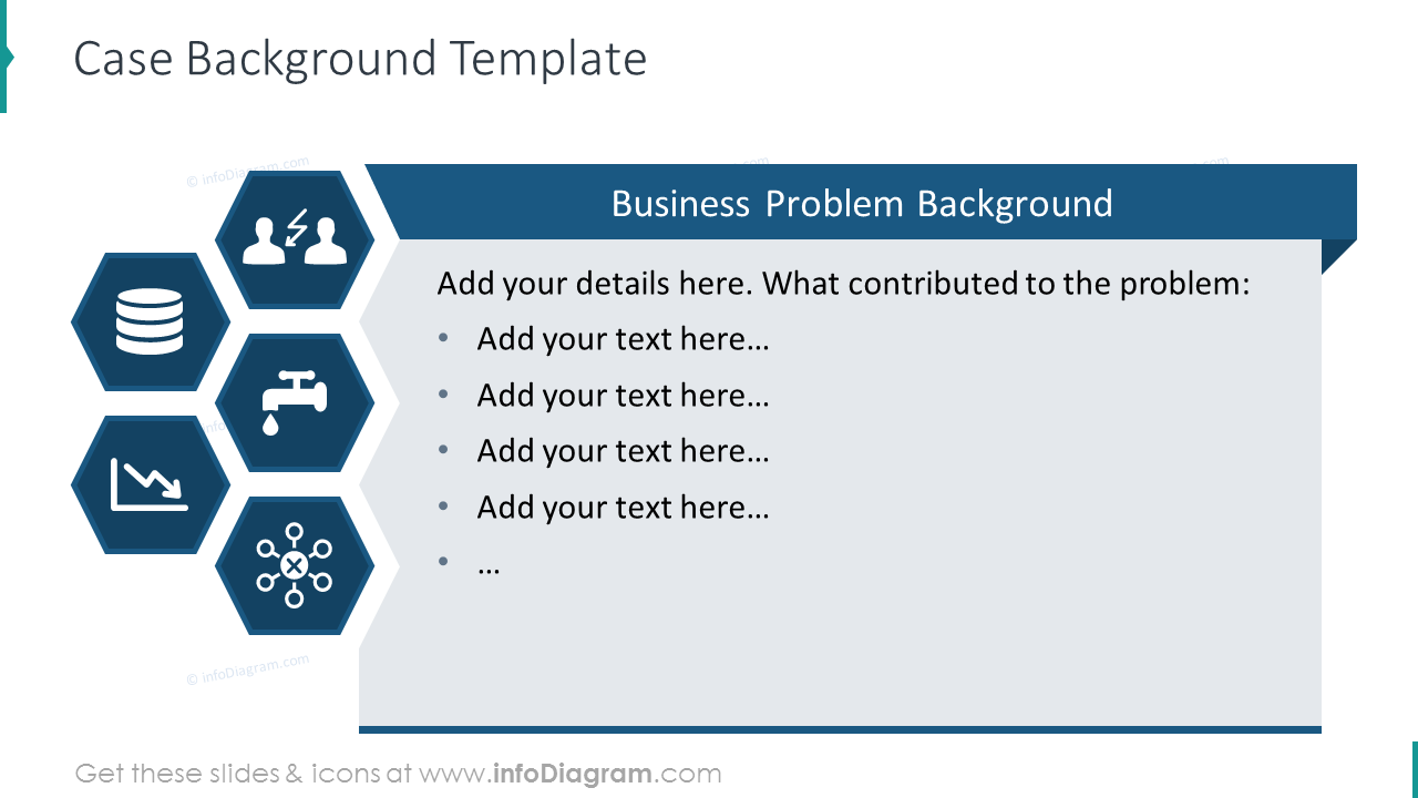 Case background template with honeycomb graphics and list description