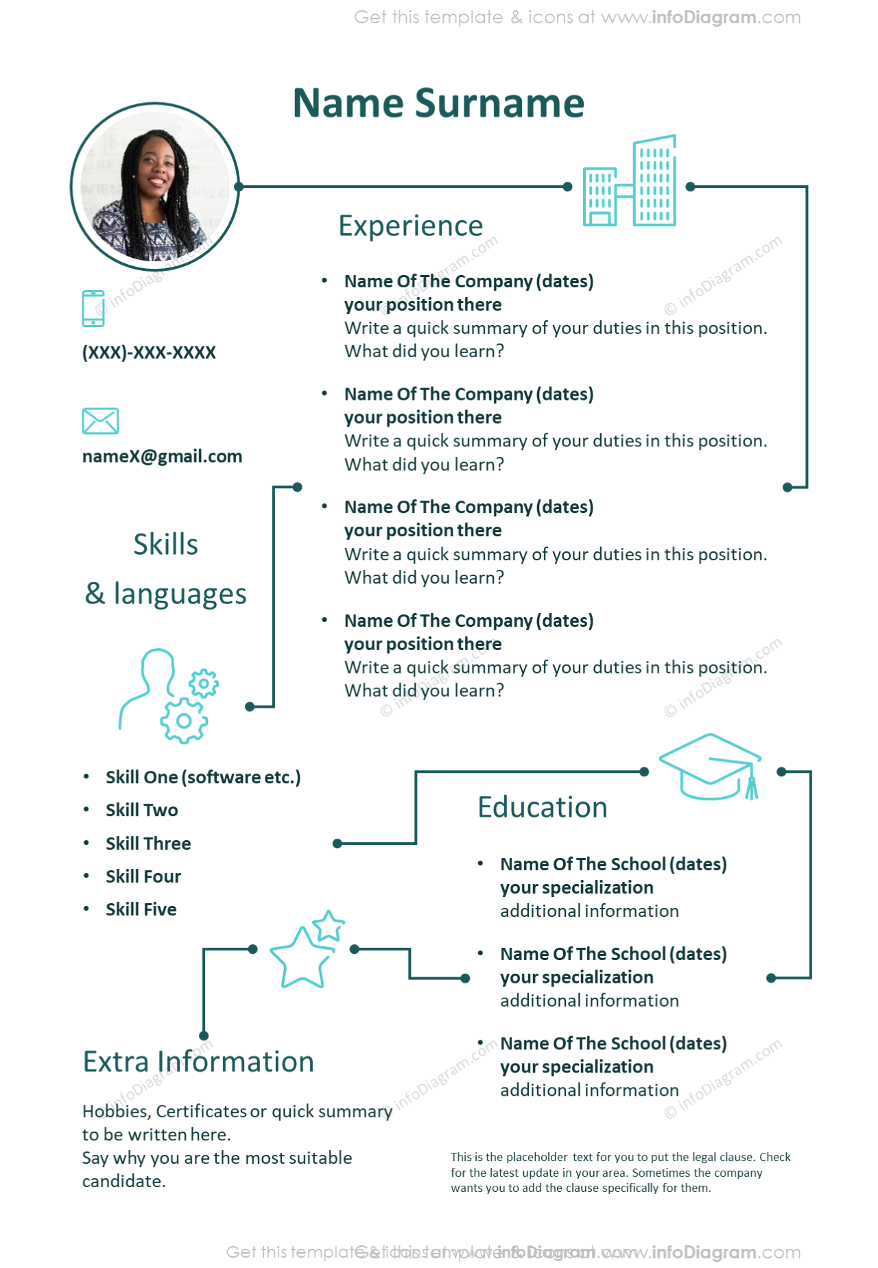 Creative outline personal CV showed with elegant single template