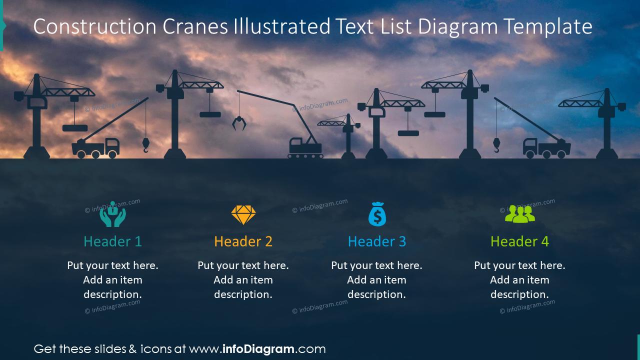 Construction cranes illustrated text list diagram