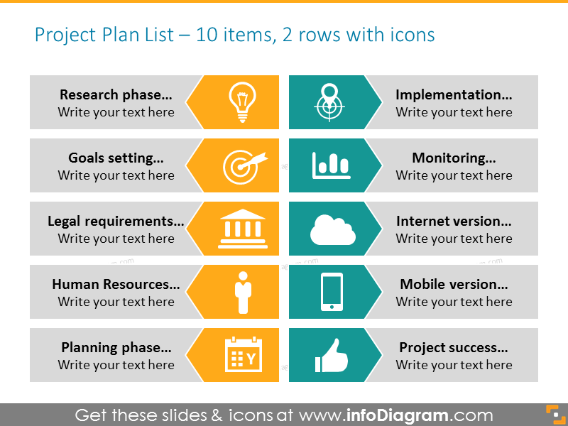 Project plan ppt template with icons