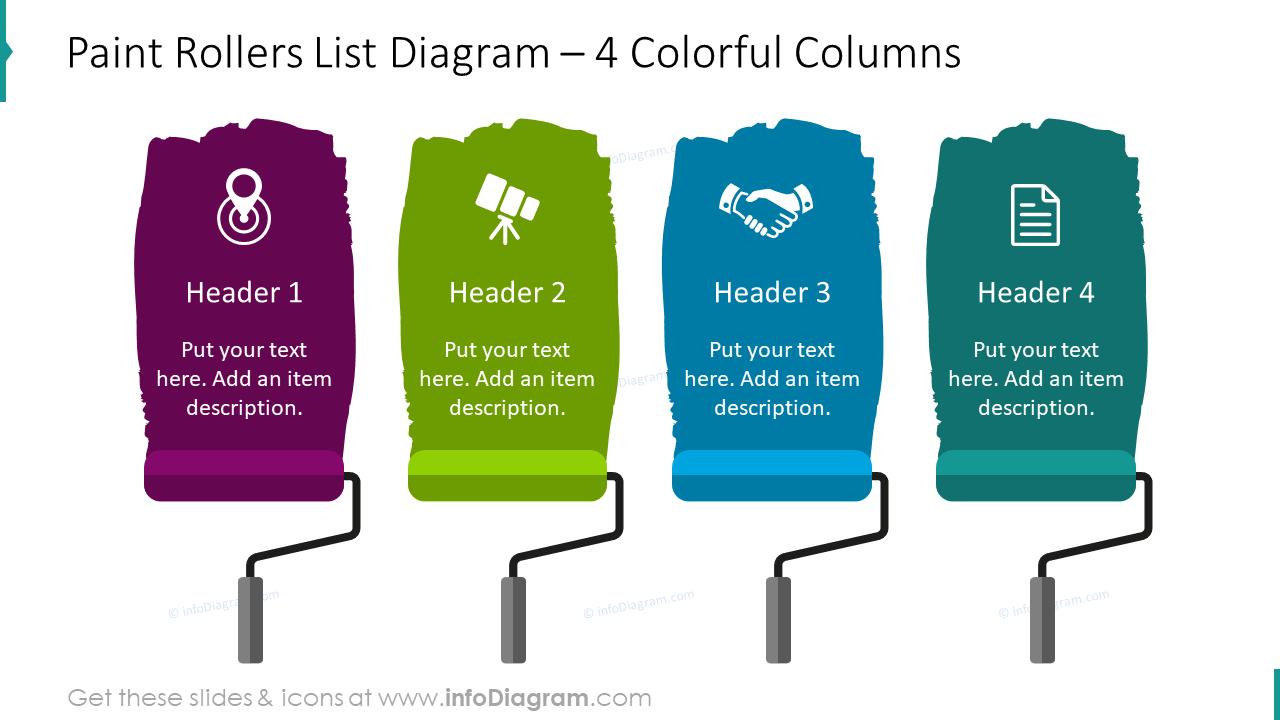 Paint rollers list diagram for four colorful columns