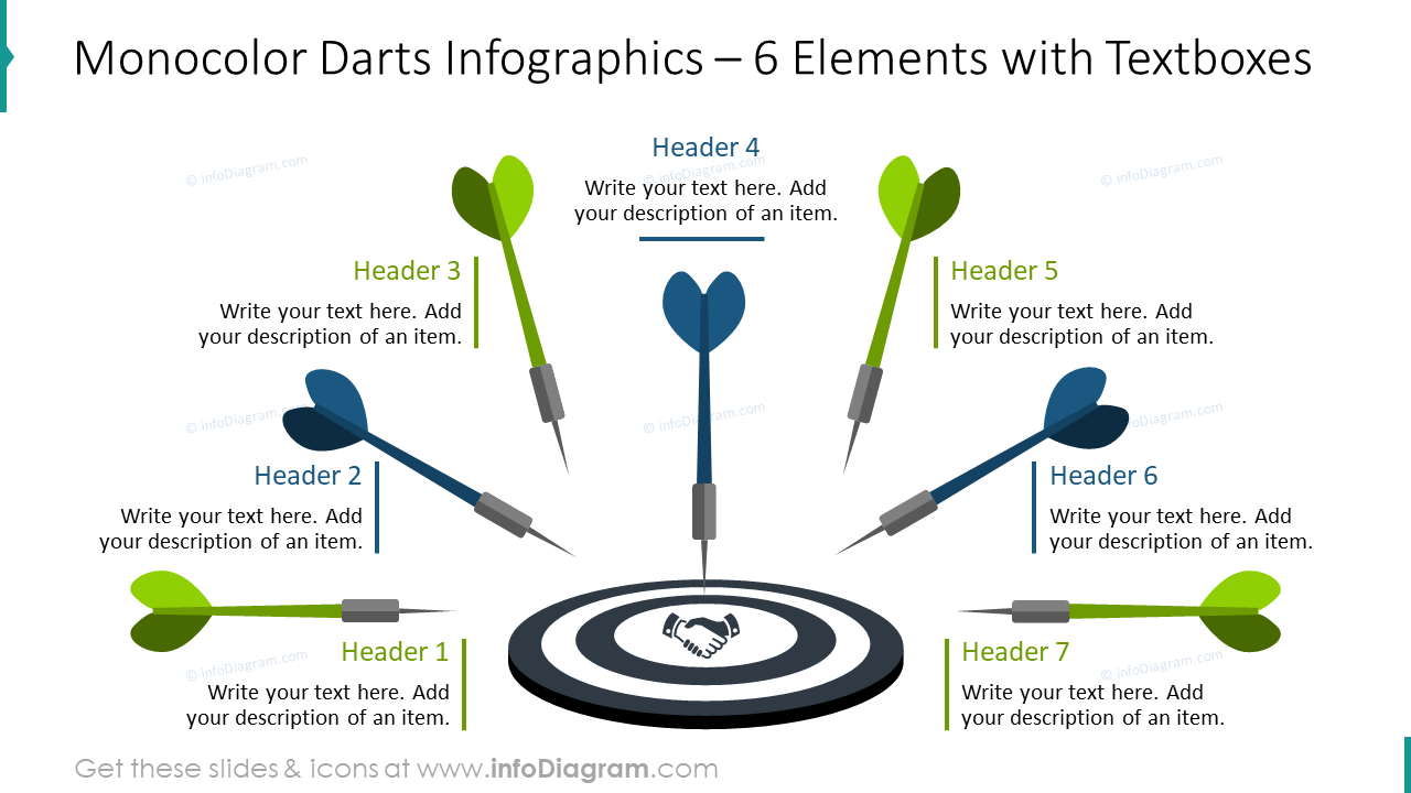 Monocolor darts infographics for six elements with textboxes
