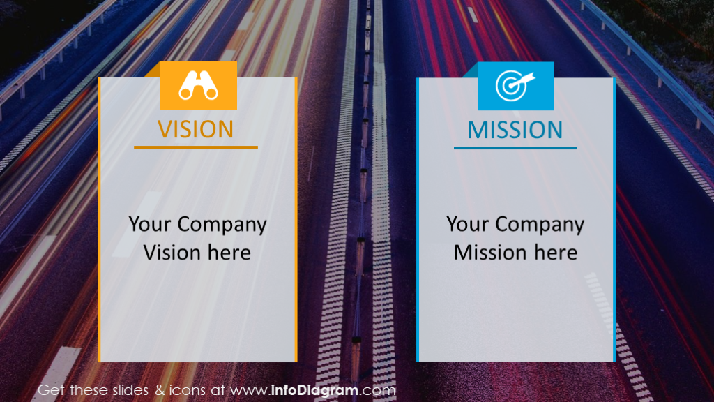 Company vision and mission statement on dynamic city road background