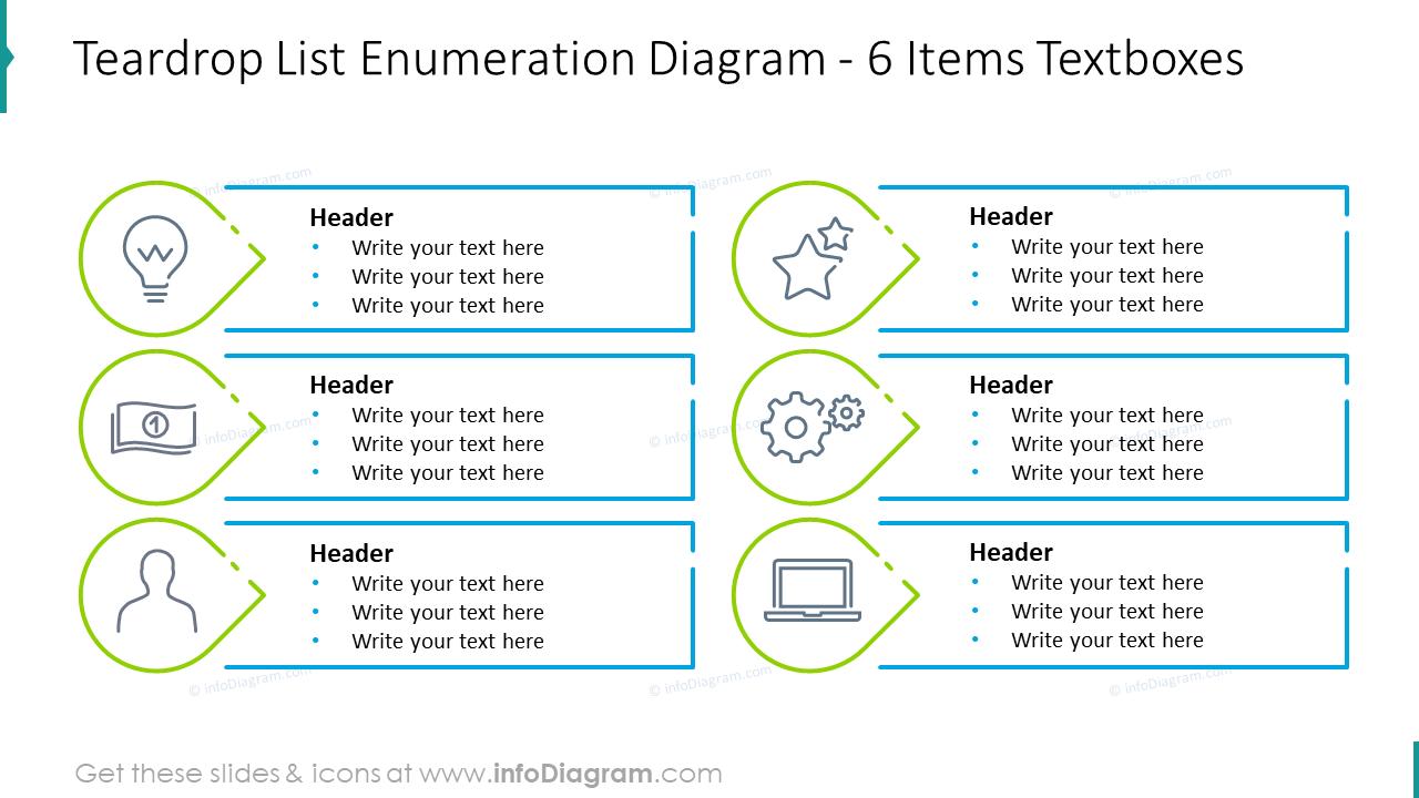 Teardrop list enumeration diagram for six items