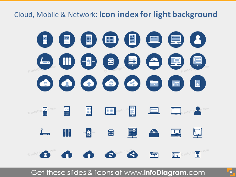 IT icons Bundle Cloud Mobile Devices Media Website PPT clipart