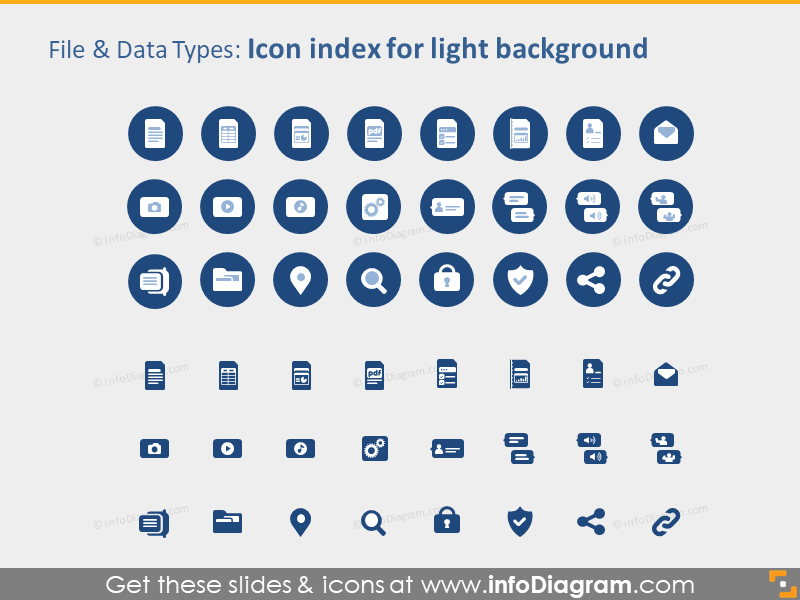 IT File data types icons PPTX light background