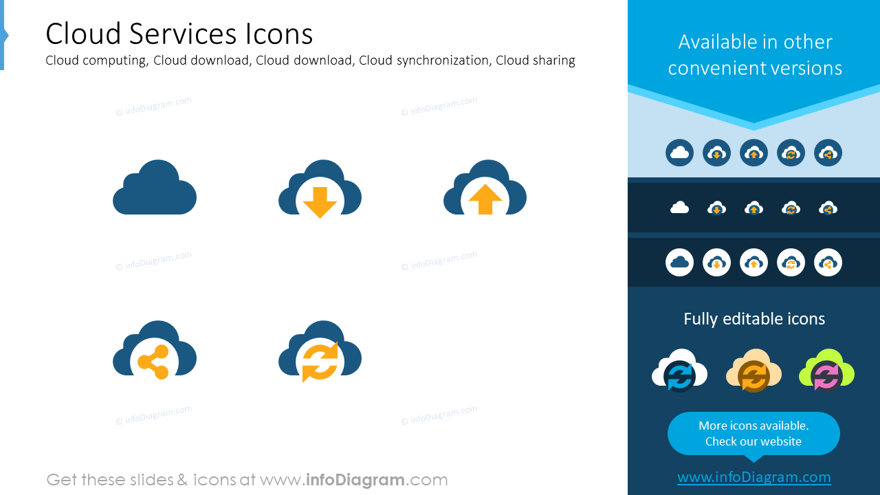 Cloud services icons: cloud computing, cloud download,cloud download,