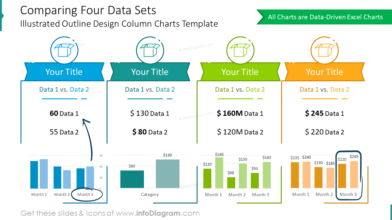 Comparing four data slide with outline design column charts