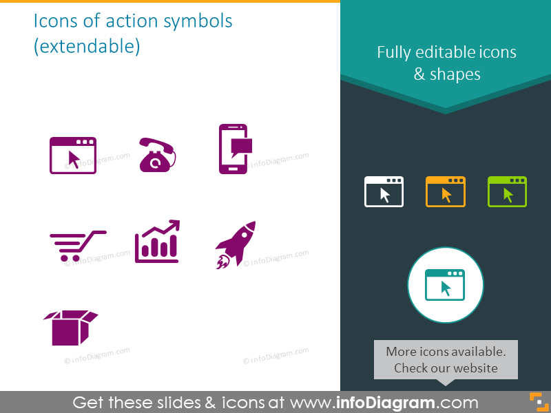 symbols for illustrating call to action set