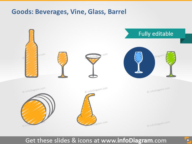 beverage goods symbol bottle glass wine barrel whisky