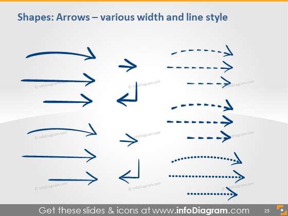hand drawn arrow dashed thin thick ink line ppt image