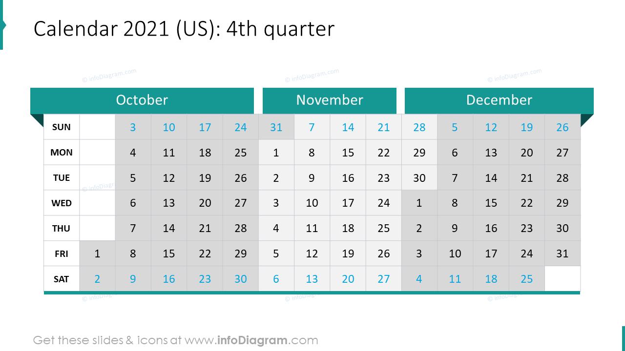 4th Quarter 2020 US Calendars