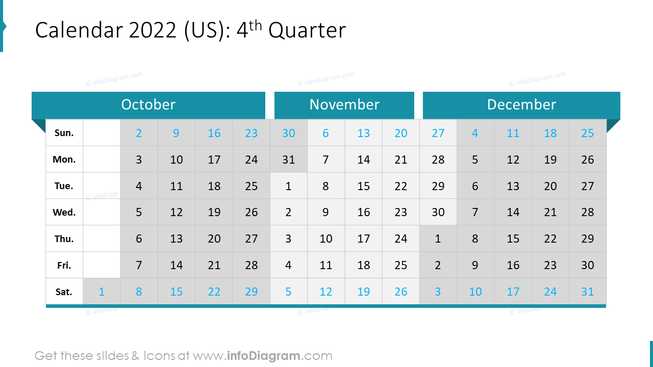 4th Quarter 2022 US Calendars