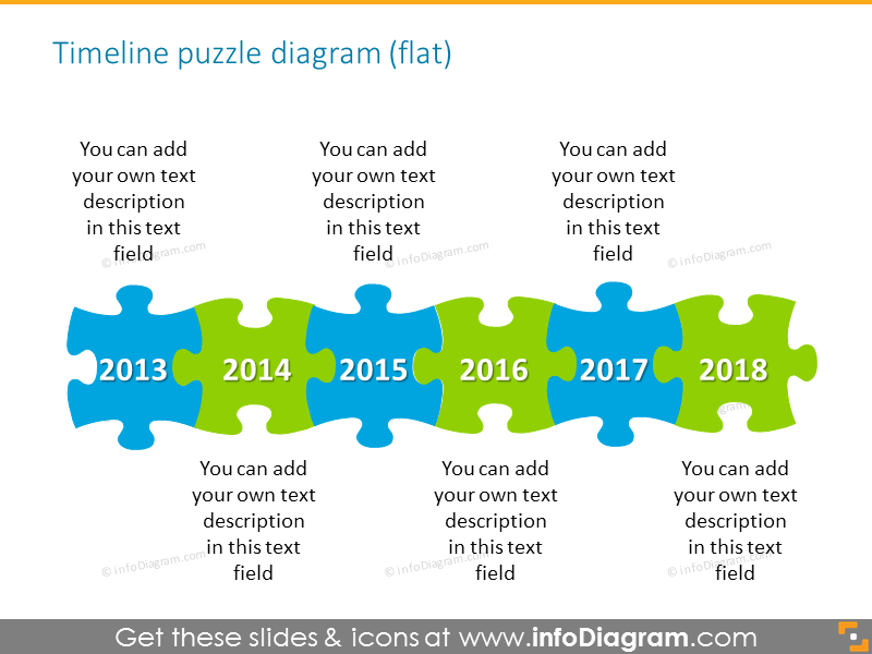 Timeline puzzle diagram flat style for 6 elements with place for descrip...