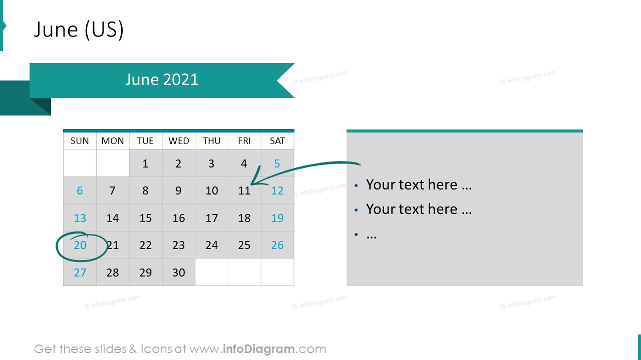 June 2020 US Calendars